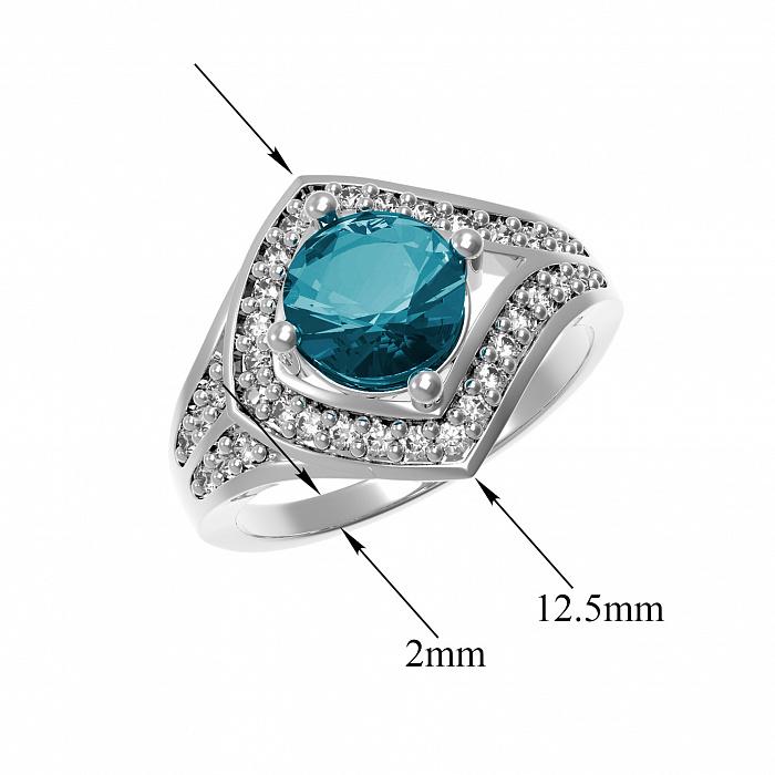 Серебряное кольцо Спарта с лондон топазом и фианитами 000079699