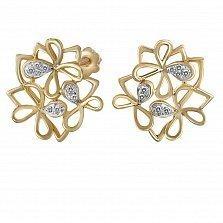 Серьги из золота Цветущая весна с бриллиантами