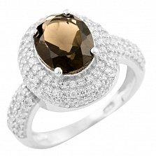 Серебряное кольцо Джоконда с раухтопазом и фианитами