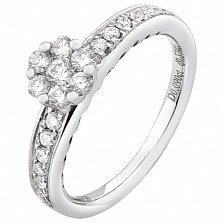 Золотое кольцо Цветущая любовь в белом цвете с бриллиантами