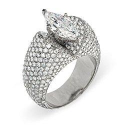 Кольцо из белого золота с бриллиантами 000006037