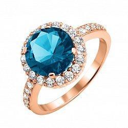 Кольцо из красного золота с лондон топазом и фианитами 000135155