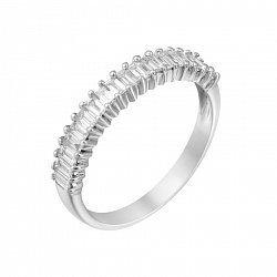 Золотое кольцо  в белом цвете с дорожкой бриллиантов прямоугольной формы 000118994
