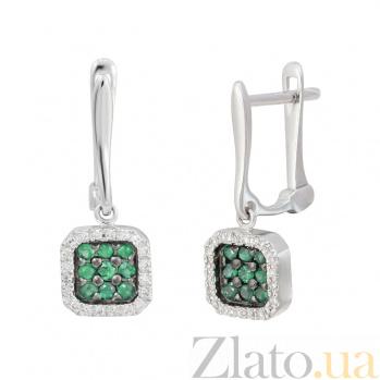Золотые серьги с изумрудами и бриллиантами Сабрина 000032323