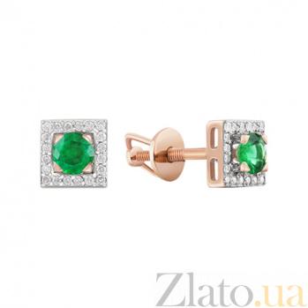 Золотые пуссеты с изумрудами и бриллиантами Ангелина KBL--С2486/крас/изум