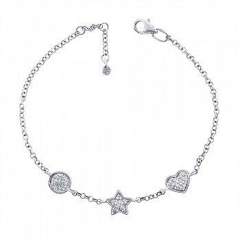 Золотой браслет со звездой и сердечком в белом цвете с бриллиантами 000125346