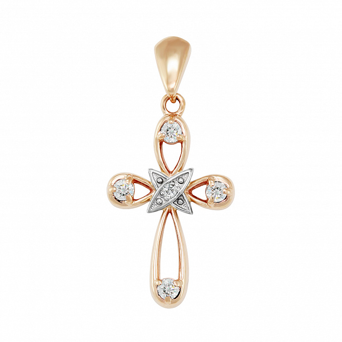 Золотой крестик Обет в комбинированном цвете с бриллиантами VLA--30070