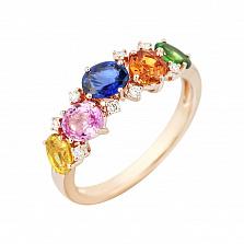 Золотое кольцо с цветными сапфирами, цаворитом и бриллиантами Поэзия