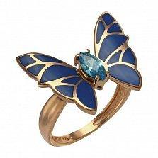 Кольцо в красном золоте Мириам с эмалью и фианитом