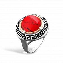 Серебряное кольцо Египтянка с золотой накладкой, красной яшмой и черной эмалью