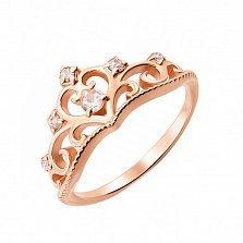 Кольцо-корона из красного золота Джиневра с фианитами