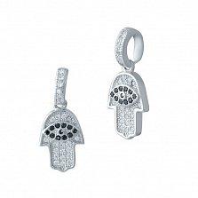 Серебряная подвеска-ладошка Хамса с белыми и черными фианитами