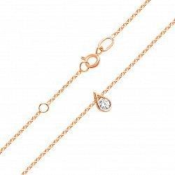 Золотое колье в красном цвете  с подвеской в форме капли и цирконием Swarovski 000117543