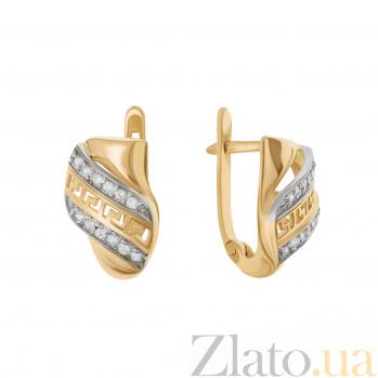 Золотые серьги Фарси в комбинированном цвете с узорами и фианитами 000096703
