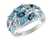 Кольцо Волны из белого золота с бриллиантами и топазами