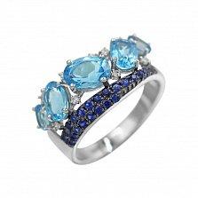 Кольцо из белого золота Джессика с бриллиантами, сапфирами и топазами