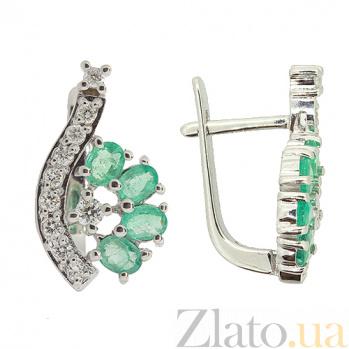 Серебряные серьги с цирконием и изумрудами Гармония ZMX--ECzE-6402-Ag_K
