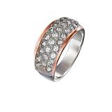 Серебряное кольцо с золотой накладкой и цирконами Дюна