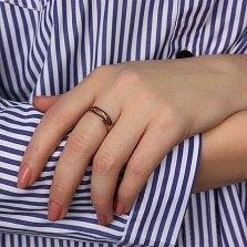 Кольцо в красном золоте Зарождение чувств с черными фианитами