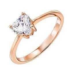 Золотое кольцо Граненое сердце с кристаллом Swarovski