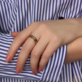 Кольцо в красном золоте Зарождение чувств с черными фианитами 000061682