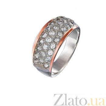 Серебряное кольцо с золотой накладкой и цирконами Дюна GS-01-Dyunawhite