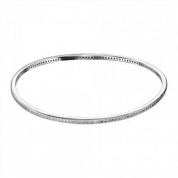 Серебряный жесткий браслет с фианитами 000135953
