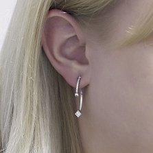 Серебряные серьги-джекеты Римма в геометрическом стиле с дорожками белых фианитов