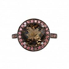Серебряное кольцо Анна с раухтопазом и фианитами