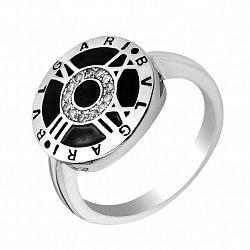 Серебряное кольцо Часы с римскими цифрами, фианитами и черной эмалью в стиле Булгари
