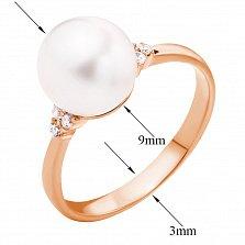 Золотое кольцо в красном цвете Миранда с жемчугом и фианитами