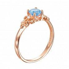 Кольцо в красном золоте Сильвия с голубым топазом и фианитами