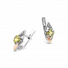 Серебряные серьги Одри с золотыми накладками, оливковыми и белыми фианитами