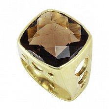 Золотой перстень-печатка Алжир в желтом цвете с узорной шинкой и завальцованным раухтопазом