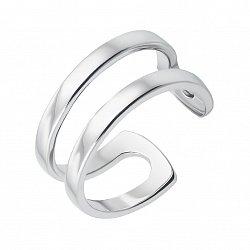 Серебряное двойное кольцо с разомкнутой шинкой 000133712