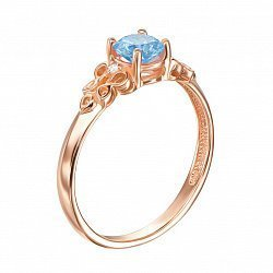 Кольцо в красном золоте с голубым топазом и фианитами 000104199