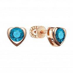 Серьги-пуссеты из красного золота с голубыми топазами 000134556