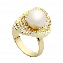 Золотое кольцо с жемчугом и бриллиантами Афродита
