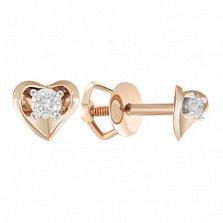 Золотые серьги-пуссеты с бриллиантами Идиллия