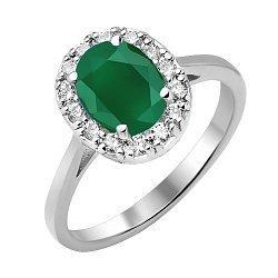 Серебряное кольцо с агатом и фианитами 000125040