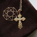 Золотой крест в комбинированном цвете Господь Спаситель