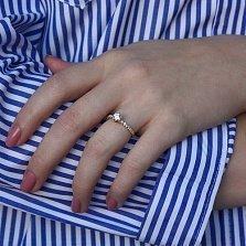 Золотое кольцо Любимая роза с бриллиантами