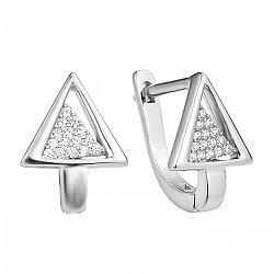 Серебряные серьги с кристаллами циркония 000130371