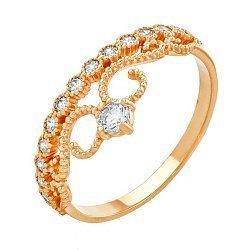 Кольцо-корона из красного золота с кристаллами Swarovski 000036789