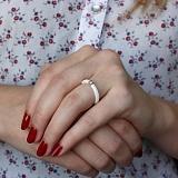 Керамическое кольцо Амалия с серебряной вставкой и фианитом