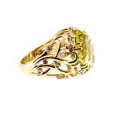 Золотое кольцо с бриллиантами и лимонным топазом Zlata