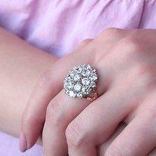 Серебряное кольцо Брусничка с золотой накладкой и цирконием