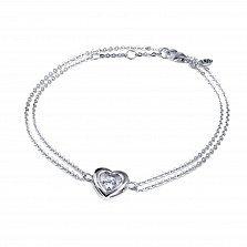 Серебряный двойной браслет Сердце малое с танцующим белым фианитом, 9x10мм