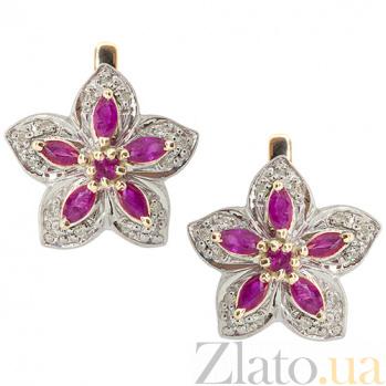 Золотые серьги с бриллиантами и рубинами Прага ZMX--BLR-1008_K