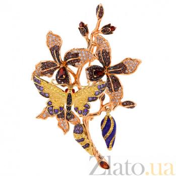 Брошь Весенняя любовь в красном золоте с фианитами VLT--ТТ420-2-4